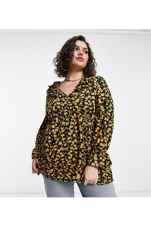 Yours Blouse with frill detail in yellow floral print