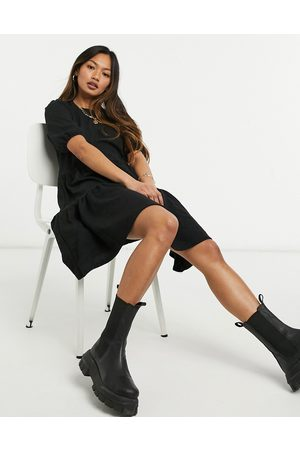 Only Puff sleeve smock dress in black