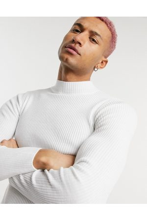 ASOS Muscle fit ribbed turtle neck jumper in white