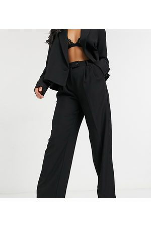Y.A.S Suit wide leg trousers with tab button up waist in black