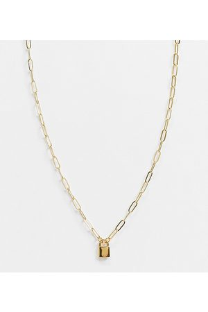 ASOS 14k gold plate necklace with mini padlock