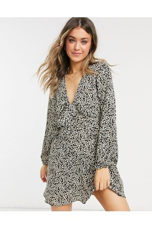 ASOS Tie front mini tea dress with long sleeves in animal print