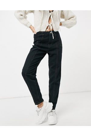 Missguided Mom jean with seam detail in black