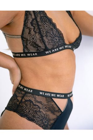We Are We Wear Lace high waist cut out brief with logo detail band in black