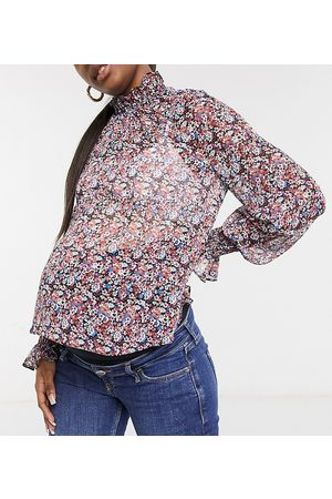 ASOS ASOS DESIGN Maternity long sleeve floral blouse with shirred neck and cuffs