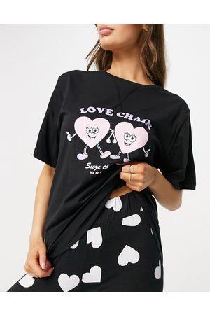 ASOS Love chain oversized tee & legging pyjama set in black