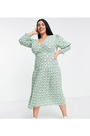 Never Fully Dressed Puff sleeve pleated midaxi dress in green geo print