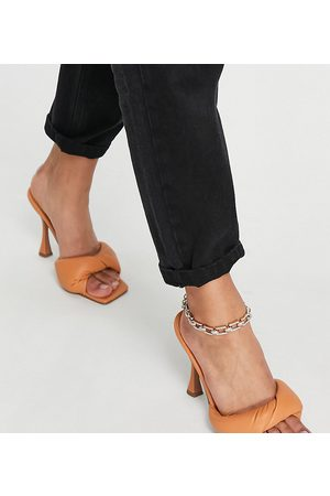 ASOS Wide Fit Niki padded twist high heeled mules in