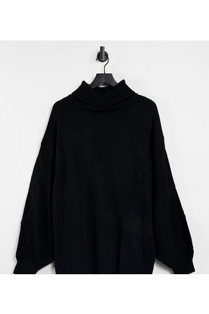 Missguided Roll neck jumper with cable sleeve in black