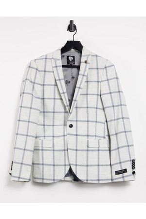 Twisted Tailor SB1 Peak Jacket in white windowpane check