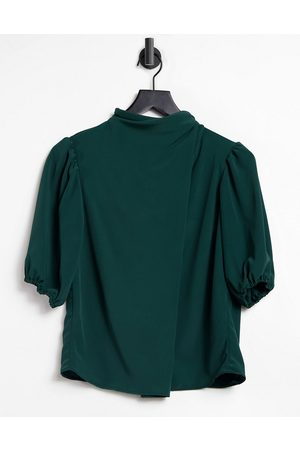 ASOS Drape high neck top with short sleeve in dark green