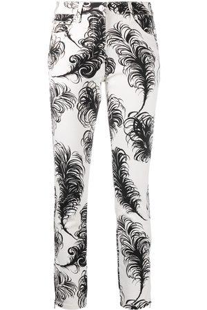 Moschino Pantalones con estampado de plumas