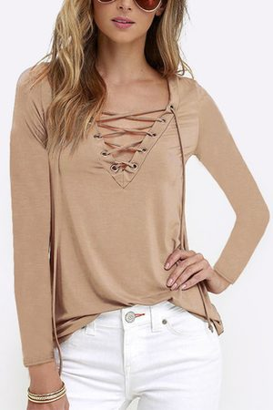 YOINS Casual V-neck Lace-up Design Long sleeves T-shirts