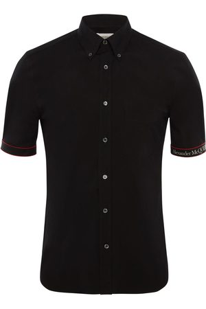 Alexander McQueen Camisa De Algodón Stretch Con Banda Con Logo