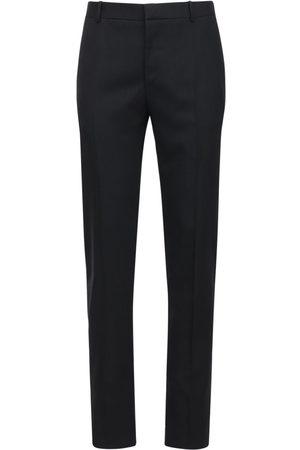 Alexander McQueen Pantalones De Gabardina De Lana