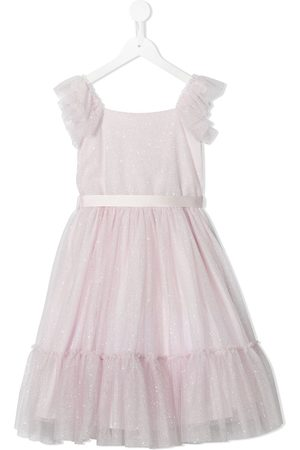 Piccola Ludo Glitter-detail flared dress
