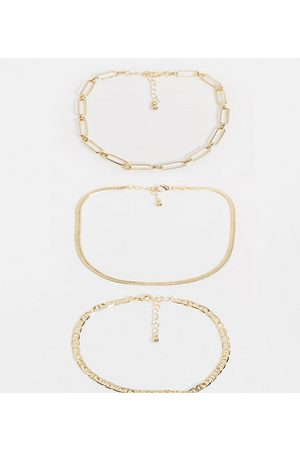 ASOS ASOS DESIGN Curve pack of 3 anklets in mixed link and herringbone chains in gold tone