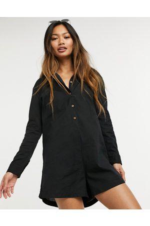Esmée Mujer Cortos - Esmee Exclusive beach button down long sleeve playsuit in black