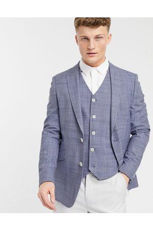 ASOS Wedding skinny suit jacket in navy crosshatch