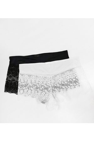 Simply Be 2 pack Lottie lace briefs in black and white