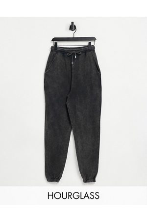 ASOS Hourglass oversized jogger in acid wash in washed black
