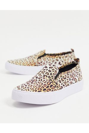 ASOS Dotty slip on plimsolls in leopard