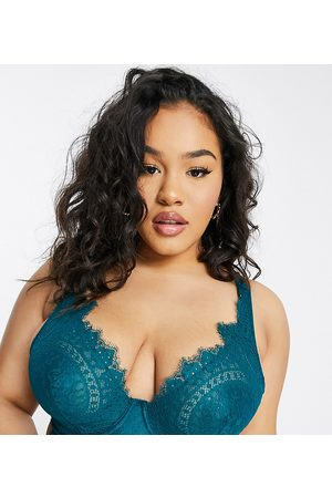 Figleaves Adore high apex lace longline bra in green
