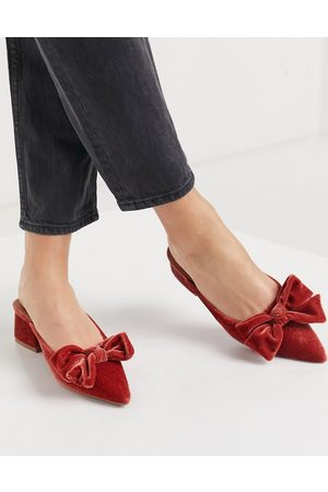 ASOS Summer bow mid heeled mules in rust