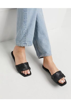 ASOS Forty woven flat sandals in black