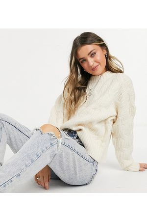 Urban Bliss Balloon sleeve cable jumper in cream