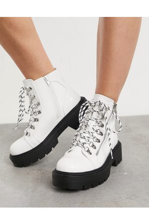 Glamorous Chunky hiker boots in white