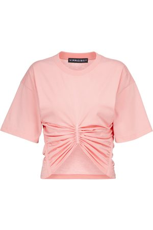 Y / PROJECT Mujer Playeras - Ruched cropped cotton-jersey T-shirt