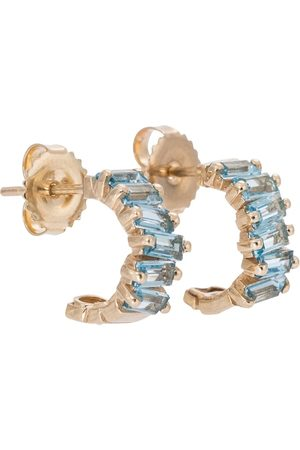 Suzanne Kalan Mujer Aretes - Gia 14kt gold hoop earrings with topaz