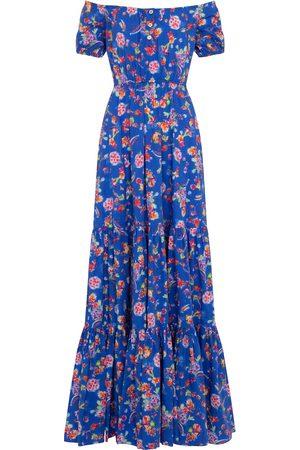 Caroline Constas Bardot floral cotton-blend maxi dress