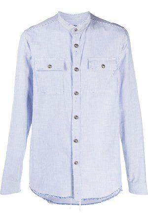Balmain Hombre Camisas - Camisa a rayas con bordes deshilachados