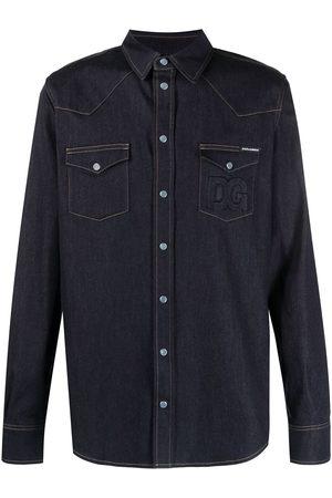 Dolce & Gabbana Hombre De mezclilla - Camisa de mezclilla con costuras en contraste