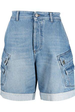 Balmain Hombre De mezclilla - Shorts de mezclilla con logo bordado