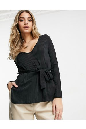 Club L Ribbed plunge neck top in black co