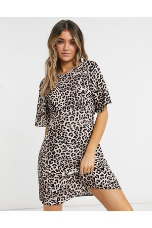 Style Cheat Cali open back mini tea dress in animal print