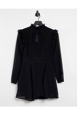 ASOS Dobby lace high neck playsuit in black
