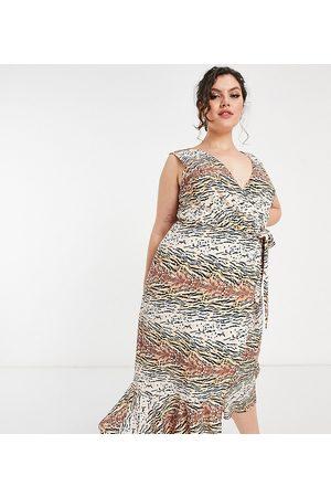 Chi Chi London Wrap midi dress in animal print