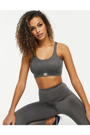 HIIT Star lace panel bra in grey