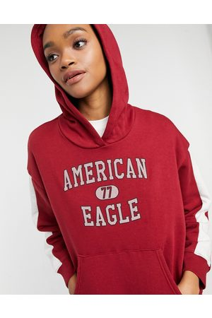 AMERICAN EAGLE Logo pullover hoodie in red