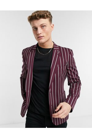 ASOS Skinny blazer with wide stripe and gold button in burgundy