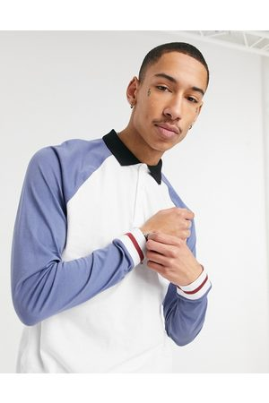 ASOS Organic raglan white polo shirt with contrast sleeve