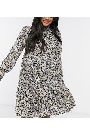 Pieces Maternity High neck smock dress in ditsy floral