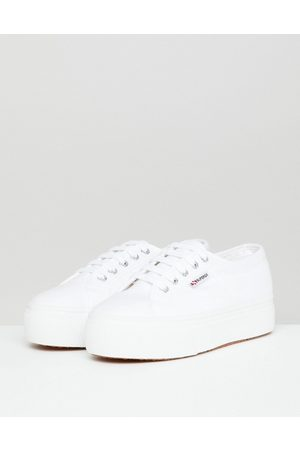 Superga 2790 Linea flatform chunky trainers in white canvas