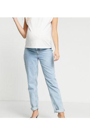 ASOS ASOS DESIGN Maternity high rise 'original' mom jeans in lightwash with elasticated side waistband
