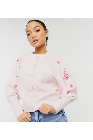 Y.A.S Exclusive cardigan with embroidered sleeves in pink