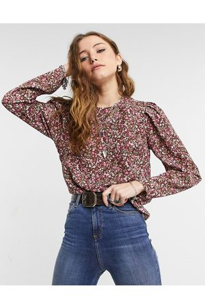 Only Floral blouse with shoulder detail in purple floral print